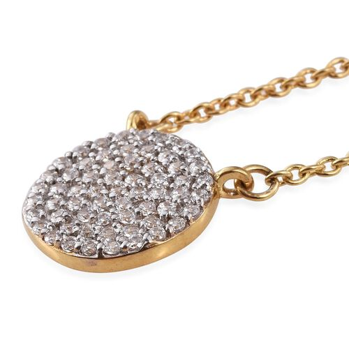 J Francis - 14K Gold Overlay Sterling Silver (Rnd) Pendant With Chain (Size 18) Made with SWAROVSKI ZIRCONIA