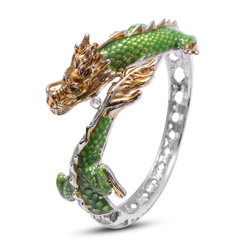 2 Piece Set - Austrian White Crystal Enamelled Dragon Bangle (Size 7) and Earrings (with Push Back)