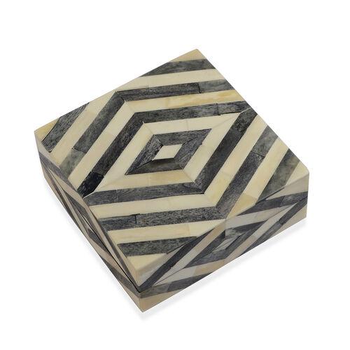 Chevron Pattern Handmade Bone and MDF Storage Box with Inside Velvet Lining (Size 15.5x15.5x6 Cm) - Black and White