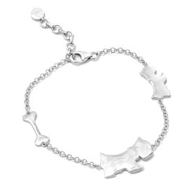 Scottish Terrier Silver Charm Bracelet in Platinum Overlay (Size 7.5 with 1 inch Extender), Silver wt 6.33 Gms.