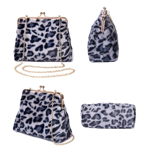 Grey Leopard Pattern Faux Fur Clutch Closure Crossbody Bag (Size: 23x10x18cm) with Chain Shoulder Strap (L: 120cm) in Gold Tone