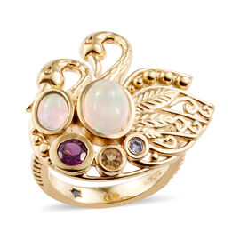 GP Ethiopian Welo Opal (Rnd), Multi Gemstone Swan Love Ring in 14K Gold Overlay Sterling Silver 1.500 Ct.
