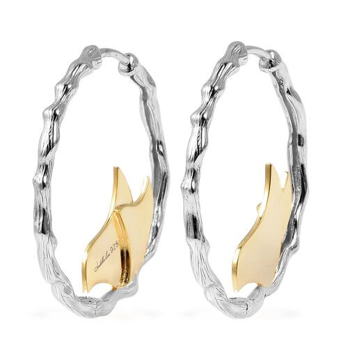 Isabella Liu Butterfly Reborn Hoop Earrings in Rhodium and Gold Plated Silver