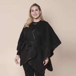 LA MAREY Plaid Pattern Kimono with Belt (Size- 105x83 cm) - Black