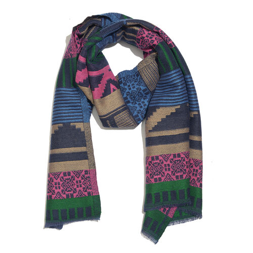 NewYork Designer Collection - Aztec Zigzag Pattern Shawl in Fuchsia, Green and Multi Colours with Fringes (Size 190X70 Cm)