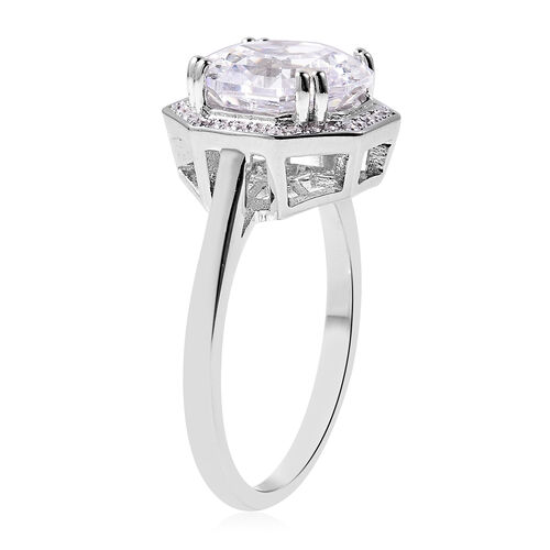 ELANZA Simulated Diamond Ring in Platinum Overlay Sterling Silver 3.82 Ct.
