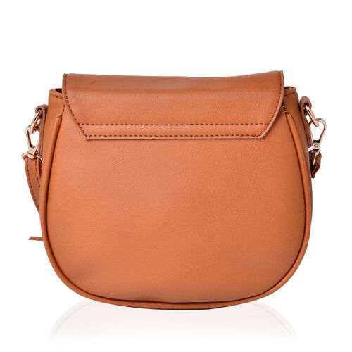 Tan Colour Crossbody Bag with Tassels and Adjustable and Removable Shoulder Strap (Size 21.5x19x7 Cm)