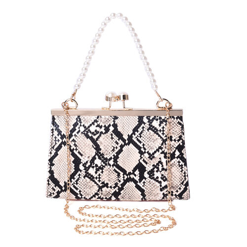 Boutique Inspired- Python Pattern Clutch Closure Crossbody Bag with Dangling Pearl Chain and Metalli