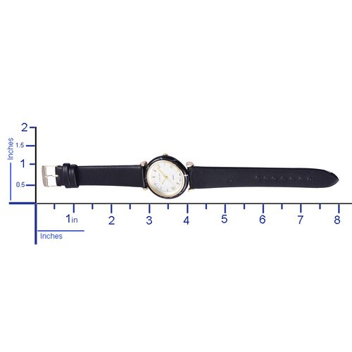 STRADA Japanese Movement White Dial Water Resistant Watch in Yellow Gold Tone with Black Colour Strap