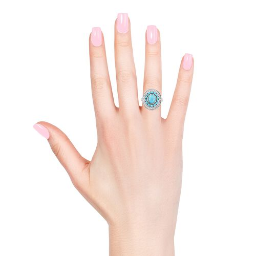 Arizona Sleeping Beauty Turquoise (Ovl and Rnd), Natural Cambodian Zircon Ring in Platinum Overlay Sterling Silver 4.500 Ct, Silver wt 8.44 Gms.