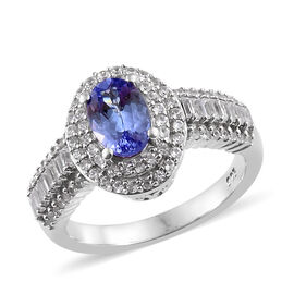 2.35 Ct Tanzanite and Zircon Double Halo Ring in Platinum Plated Silver 4.35 Grams