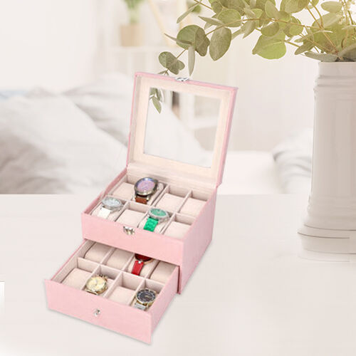 Two-Layer Velvet Watch Box with Glass Window on Top in Pink