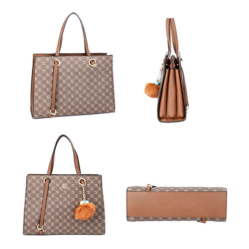 LOCK SOUL Handbag with Fuzzy Ball Tassel (35.3x13.5x27cm) - Brown