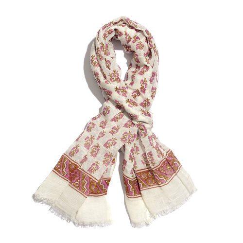 One Time Close Out Deal- Special Edition- White,Violet and Green Colour Handblock Printed Scarf (Siz