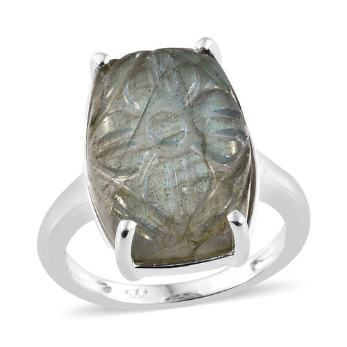 Rare Size Hand Carved Pauls Island Labradorite (Cus) Ring in Sterling Silver 11.750  Ct.