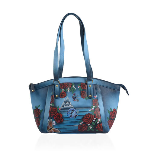 SUKRITI  Limited Collection 100% Genuine Leather Blue, Red and Multi Colour Butterfly and Flower Pattern Shoulder Bag (Size 40x25x10.5 cm)