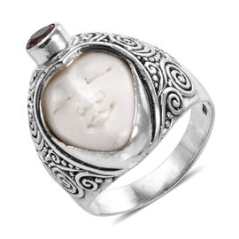 Royal Bali 10.74 Ct OX Carved Bone Face and African Ruby Ring in Sterling Silver 7 Grams