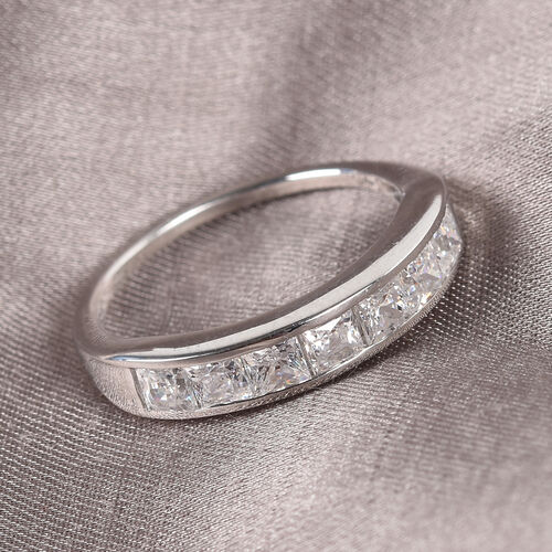 J Francis Platinum Overlay Sterling Silver Half Eternity Band Ring Made with SWAROVSKI ZIRCONIA 1.25 Ct.