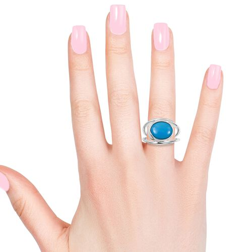 Rare Size Arizona Sleeping Beauty Turquoise (Ovl11x9 mm) Solitaire Ring in Rhodium Overlay Sterling Silver 2.550 Ct.