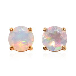 Ethiopian Welo Opal (Rnd) Stud Earrings (with Push Back) in 14K Gold Overlay Sterling Silver 1.00 Ct