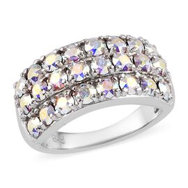 J Francis AB Crystal from Swarovski Three Row Ring in Platinum Plated