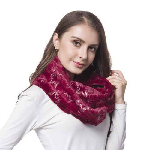 Red and Golden Colour Star Pattern Faux Fur Scarf (Size 80X20 Cm)