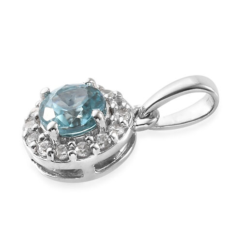 9K White Gold Simulated Blue Topaz (Rnd), Natural Cambodian Zircon Pendant