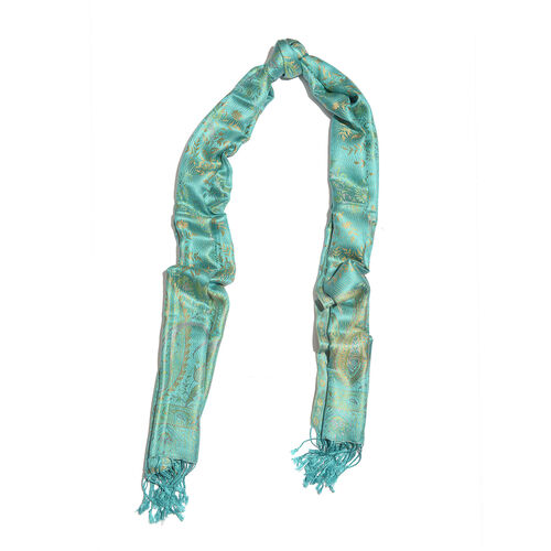 100% Superfine Silk Turquoise Green, Orange and Multi Colour Flower Pattern Jacquard Jamawar Scarf with Tassels (Size 180x70 Cm) (Weight 125 - 140 Gms)