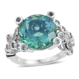 Peacock Quartz (Rnd 9.50 Ct), Electric Swiss Blue Topaz and White Topaz Ring in Platinum Overlay Sterling Silver 10.500 Ct.