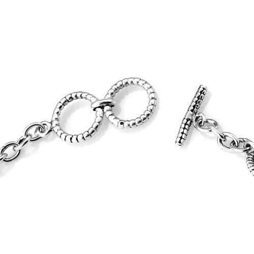 Royal Bali Collection Sterling Silver Fleur De Lis and Cross Charm Bracelet (Size 7.5 with Half inch Extender), Silver wt 13.00 Gms.
