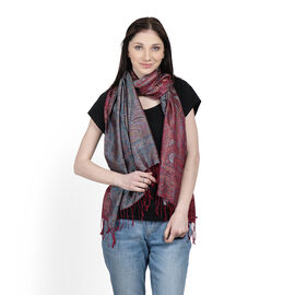 SILK MARK- 100% Superfine Silk Burgundy, Blue and Multi Colour Jacquard Jamawar Scarf with Fringes (