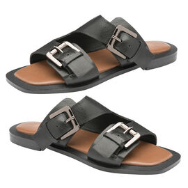 Ravel Kintore Leather Mule Sandals in Black Colour