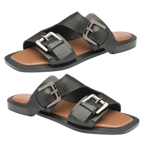 Ravel Kintore Leather Mule Sandals (Size 3) - Black