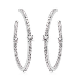 Simulated Diamond Earrings (with Push Back) in Silver Tone