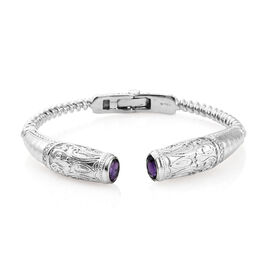 Designer Inspired- Amethyst (Ovl) Cuff Bangle (Size 7.25) in Platinum Plating  2.500 Ct.