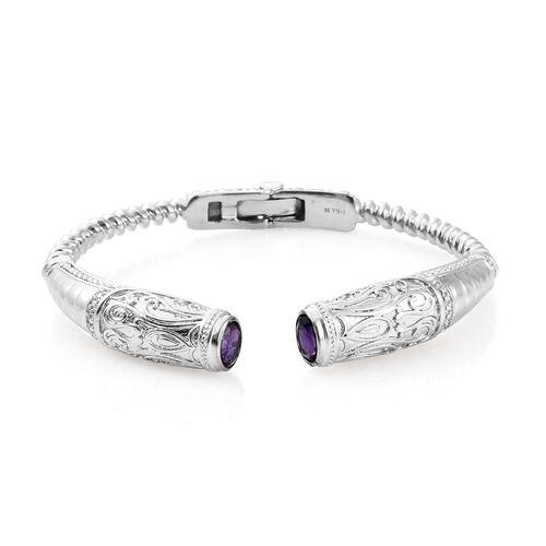 Designer Inspired- Amethyst (Ovl) Cuff Bangle (Size 7.25) in Platinum Plating  2.500 Ct.