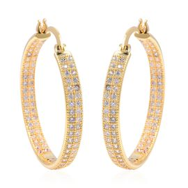 Simulated Diamond (Rnd) Hoop Earrings in Yellow Gold Plated