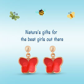 Kids Butterfly Earrings in Gold Plated Sterling Silver with Push Back