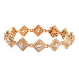 J Francis 14K Gold Overlay Sterling Silver Bracelet (Size 7.5) Made with SWAROVSKI ZIRCONIA 10.22 Ct
