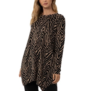 TAMSY Zebra Print Tunic Top - Black and Camel