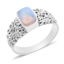Royal Bali Collection - AA Ethiopian Welo Opal (Cushion Cut) Sterling Silver Ring