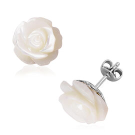 Jardin Collection - White Mother of Pearl Rose Stud Earrings (with Push Back) in Rhodium Overlay Ste