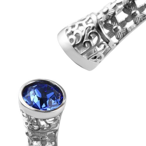 J Francis - Crystal from Swarovski Sapphire Colour Crystal (Rnd) Bangle (Size 7.5) in Platinum Plated