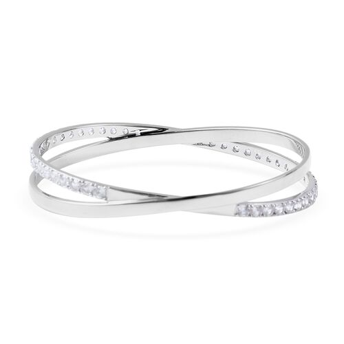 Isabella Liu Collection - Natural White Cambodian Zircon (Rnd) Bangle (Size 7) in Rhodium Overlay Sterling Silver Silver wt 21 Grams