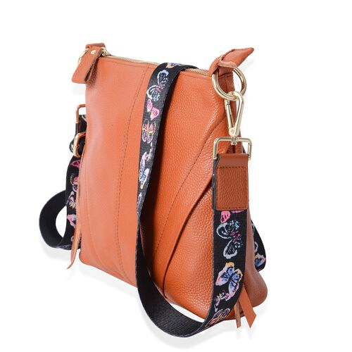 100% Genuine Leather Tan Colour Cross Body Bag with Adjustable and Removable Butterfly Pattern Shoulder Strap (Size 23x22x7 Cm)