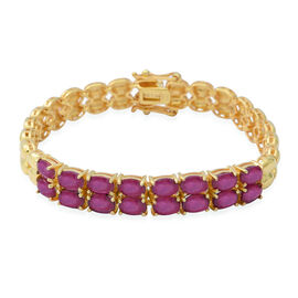 African Ruby (Ovl) Bracelet (Size 6.5) in Yellow Gold Overlay Sterling Silver 10.40 Ct, Silver wt 15