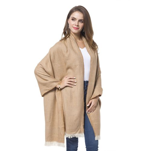 Italian Designer Inspired - Camel and Cream Colour Chevron Pattern Knitted Shawl with Fringes (Size 200X80 Cm)