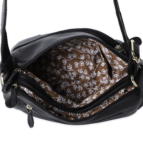 100% Genuine Leather Crossbody Bag with Multiple Pockets and Zipper Closure (Size 31x13x24 Cm) - Black