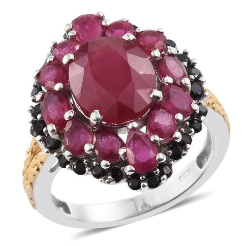 8.75 Ct African Ruby and Boi Ploi Black Spinel Halo Design Ring in Platinum and Gold Plated Silver