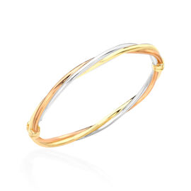 Hatton Garden Close Out- 9K Yellow, Rose and White Gold Twist Bangle (Size 7.25),  Gold wt. 6.70 Gms